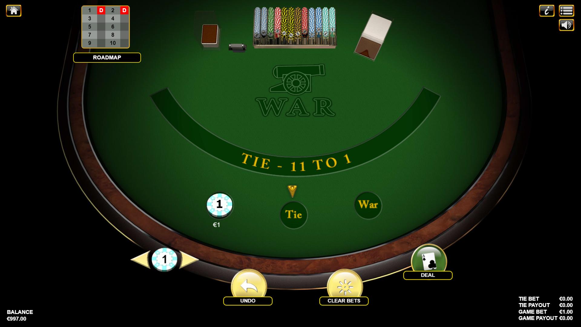 kazino žaidimas karas