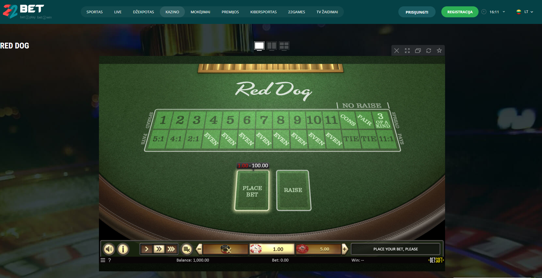 22bet casino red dog poker game - red dog casino