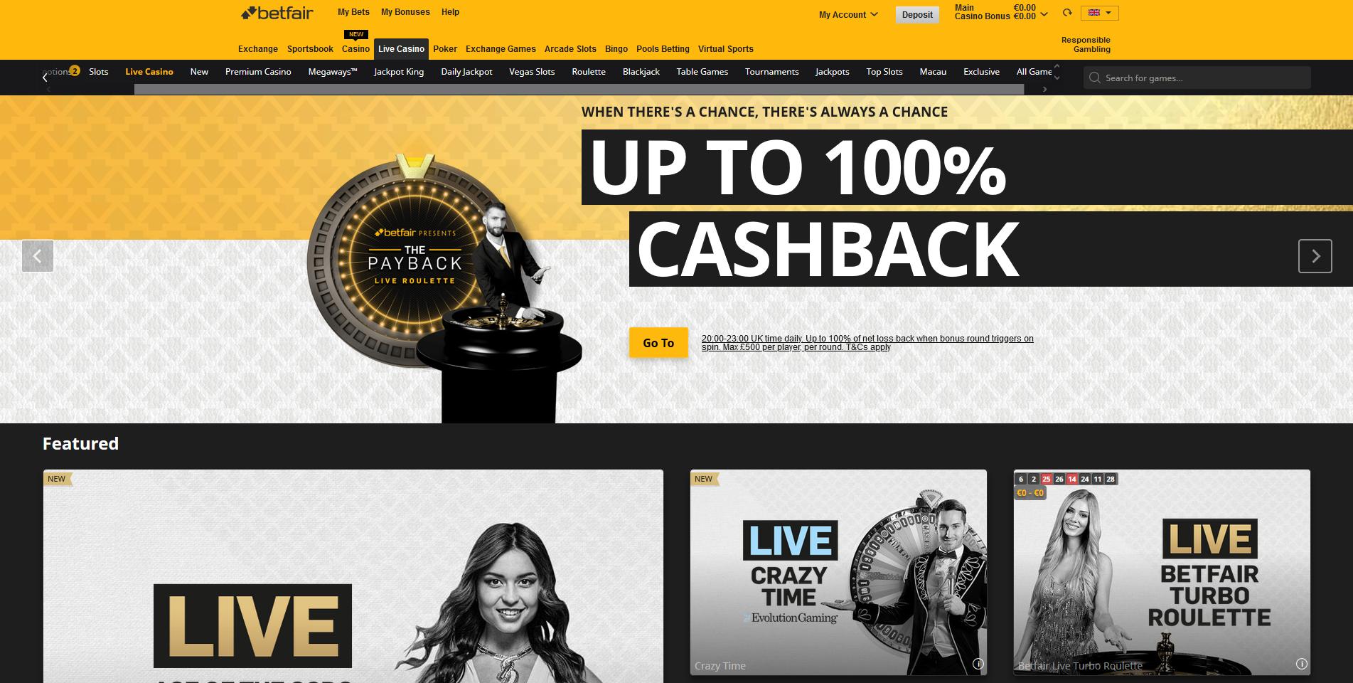 betfair live casino ruletė blackjack 100% cashback pinigų grąžinimas crazy time live kazino