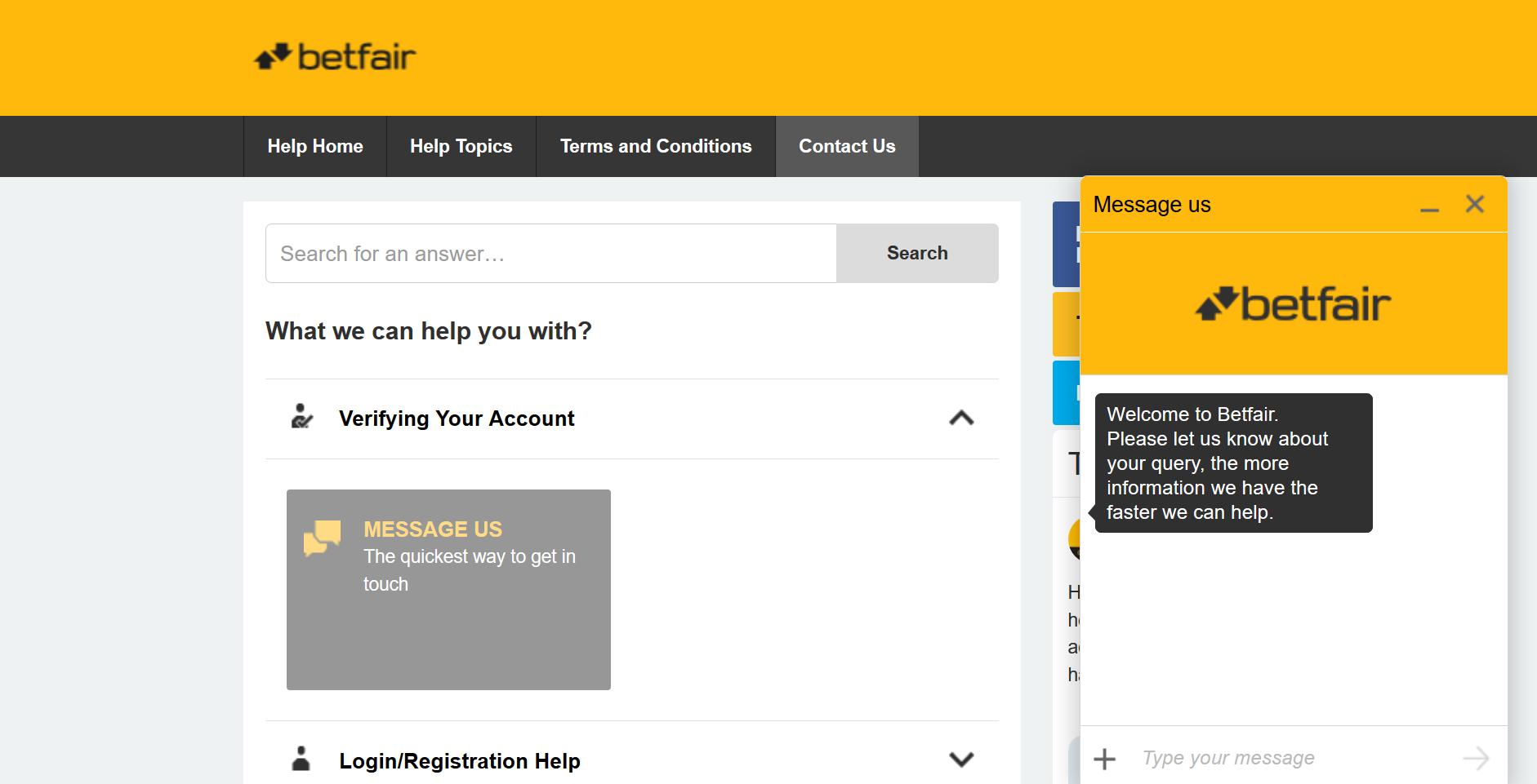 betfair live chat klientų aptarnavimo centras tiesioginis pokalbis