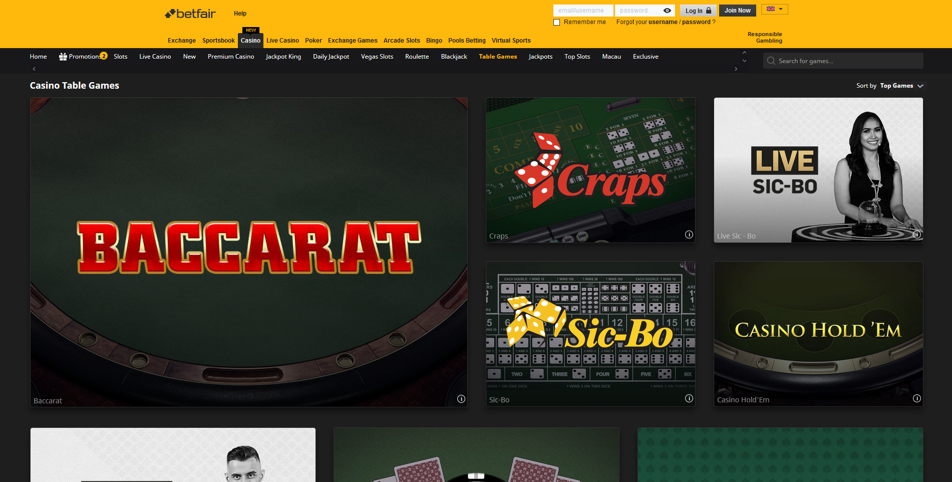 betfair table games stalo žaidimai sic bo bakara baccarat craps casino holdem pokeris