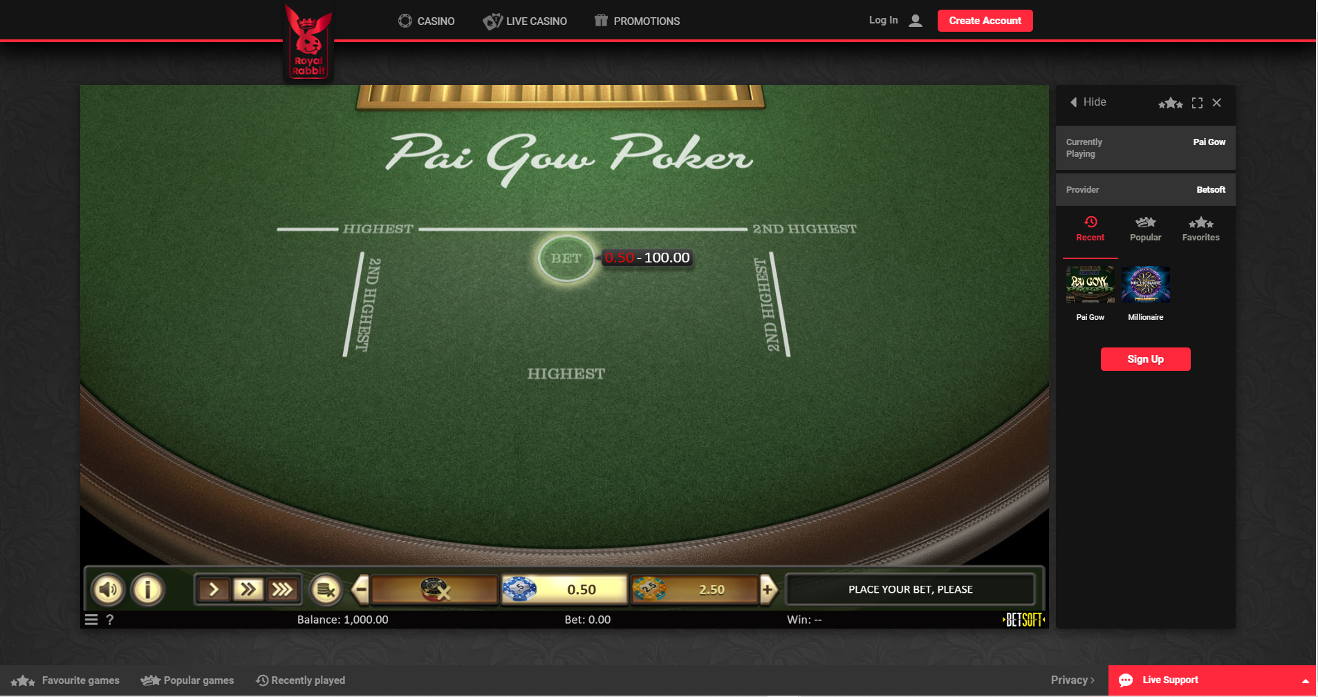 pai gow poker online betsoft royal rabbit casino