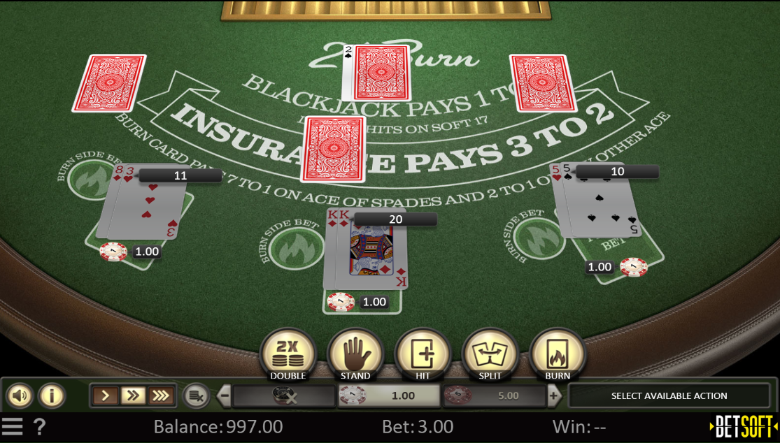 21 burn blackjack online betsoft