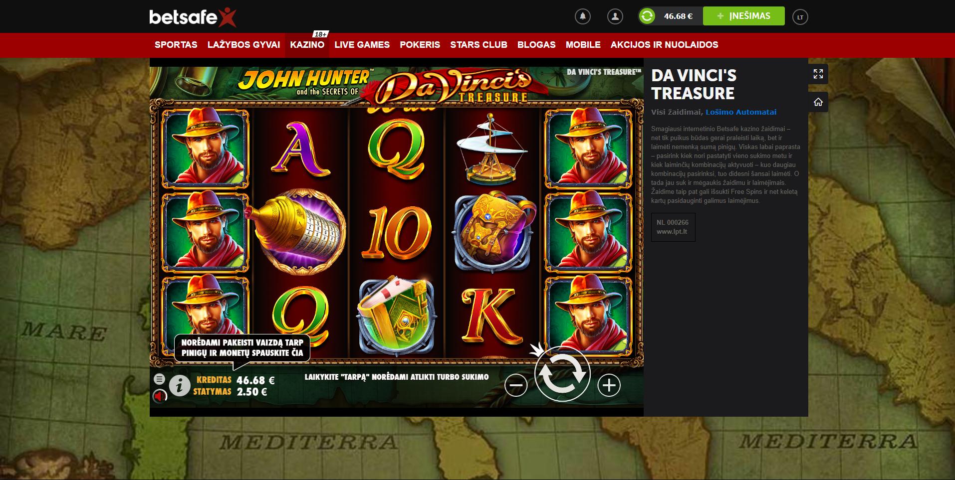 davinci treasure slot betsafe casino pragmatic play