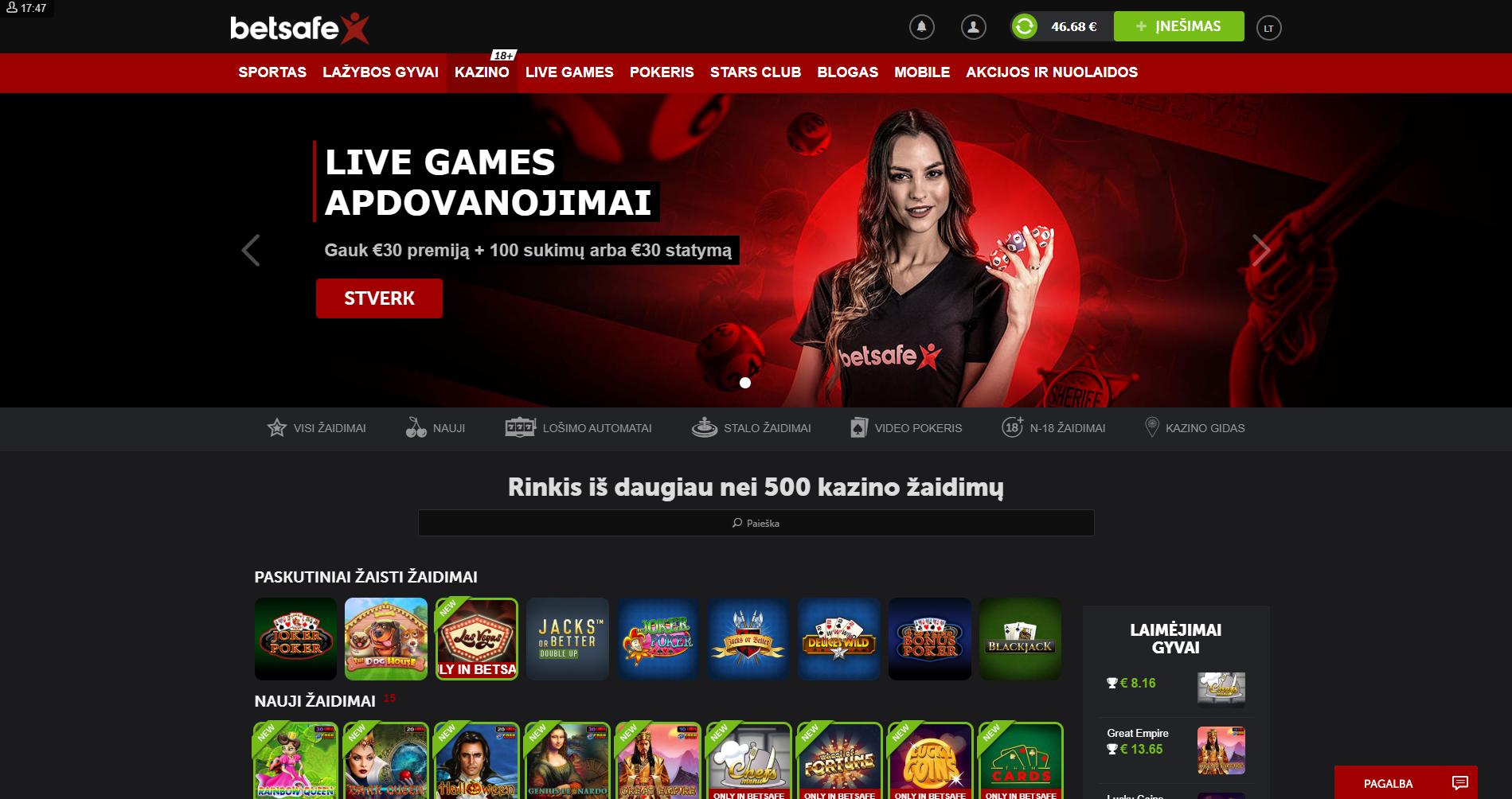 betsafe kazino žaidimai - nauji žaidimai live games - lošimo automatai