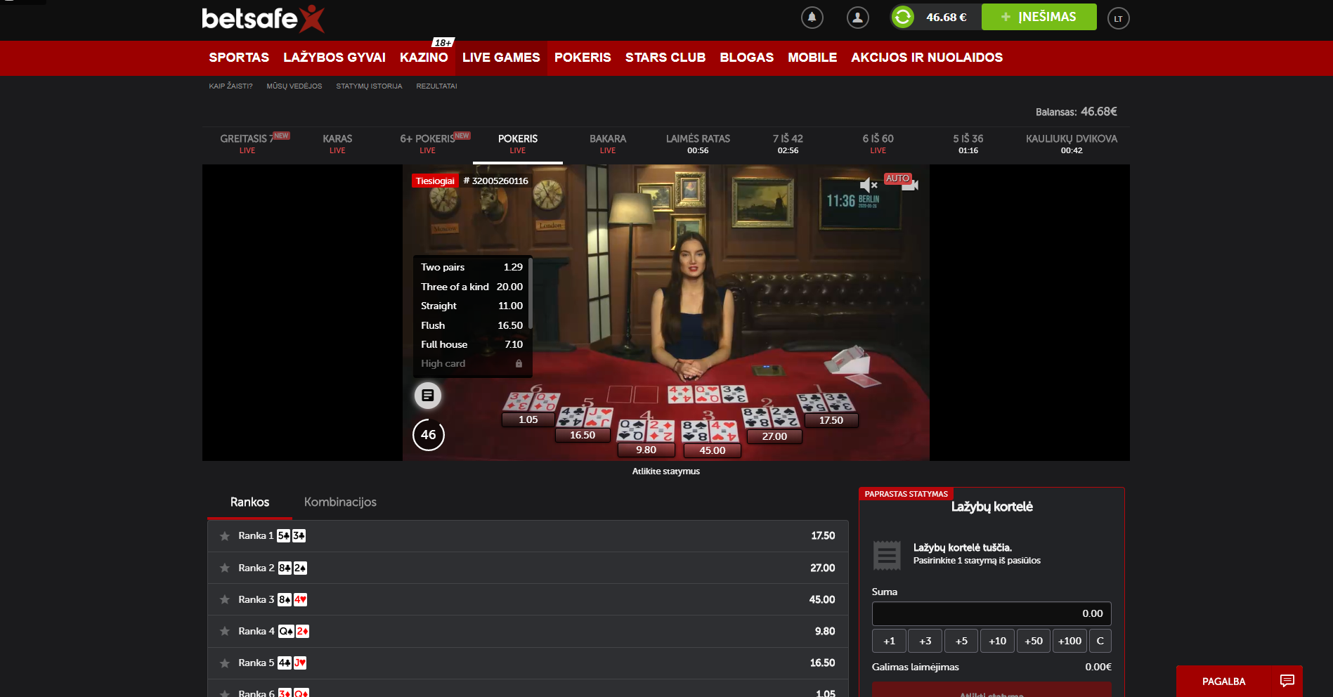 betsafe live casino live games betgames.tv - bet on poker dealer cards