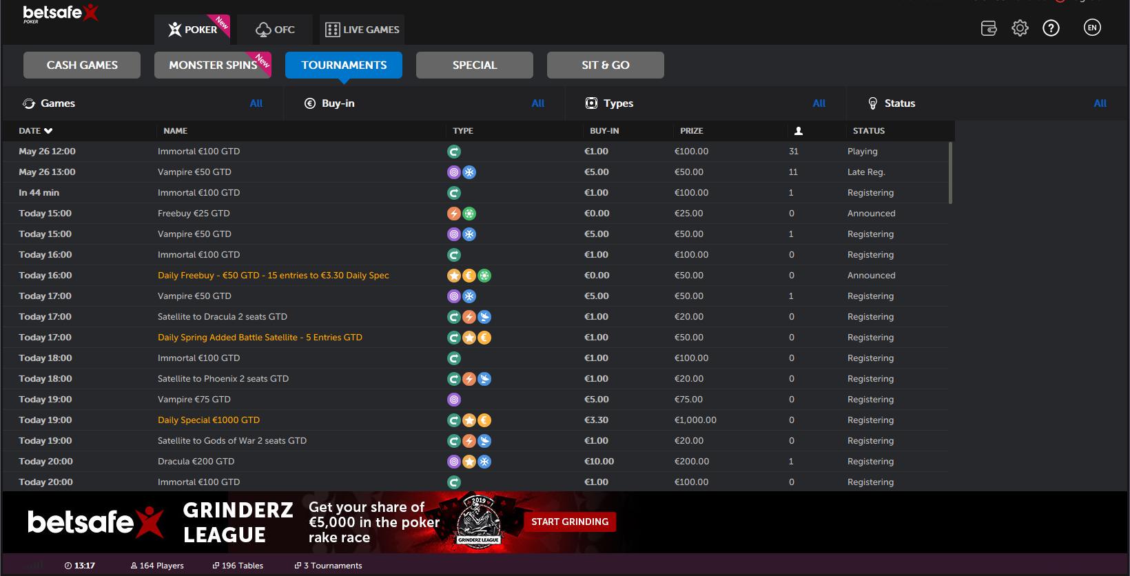 betsafe poker - monster spins sit go tournaments cash games grinderz league