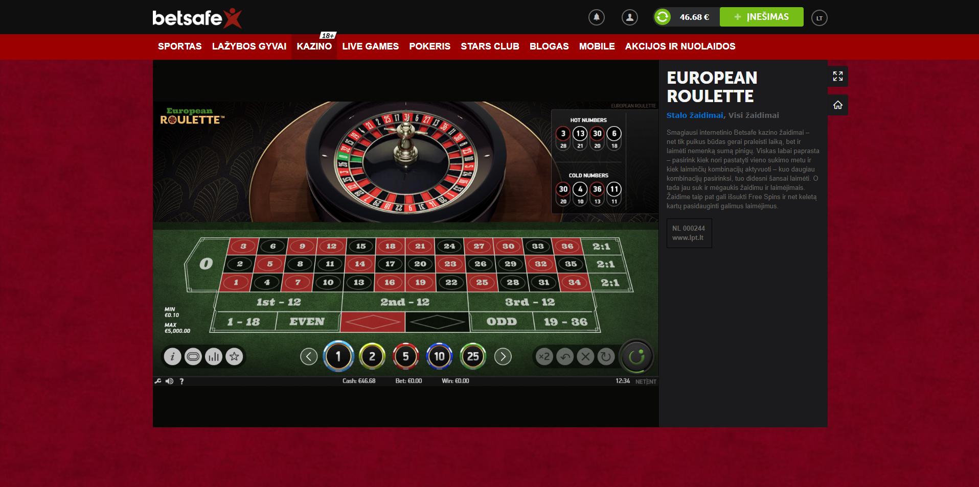 betsafe stalo žaidimai - european roulette - ruletė