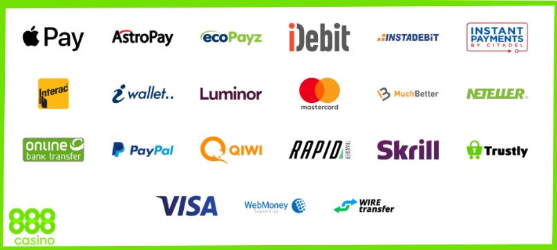888 kazino mokėjimo metodai ecopayz skrill neteller visa mastercard webmoney paypal trustly