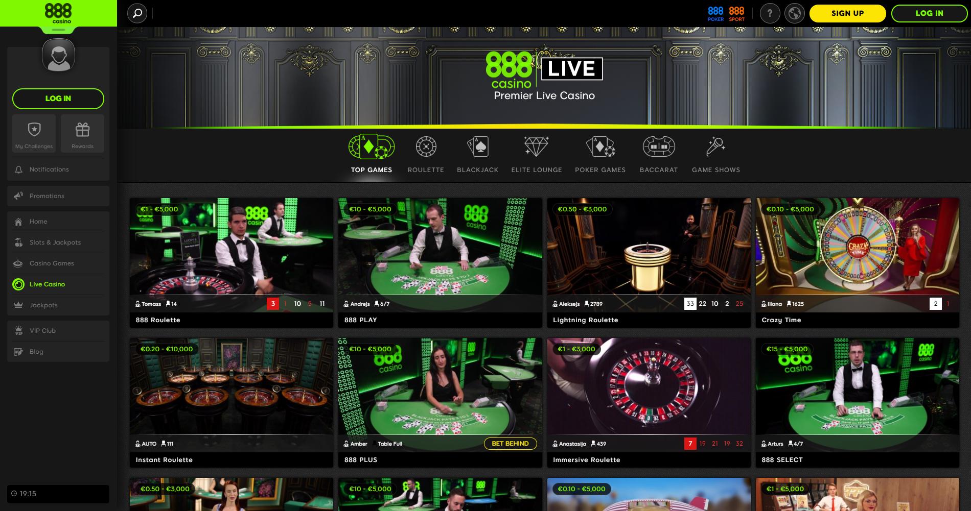 888 live casino blackjack crazy time lightning roulette instant roulette dalintojas kazino gyvai