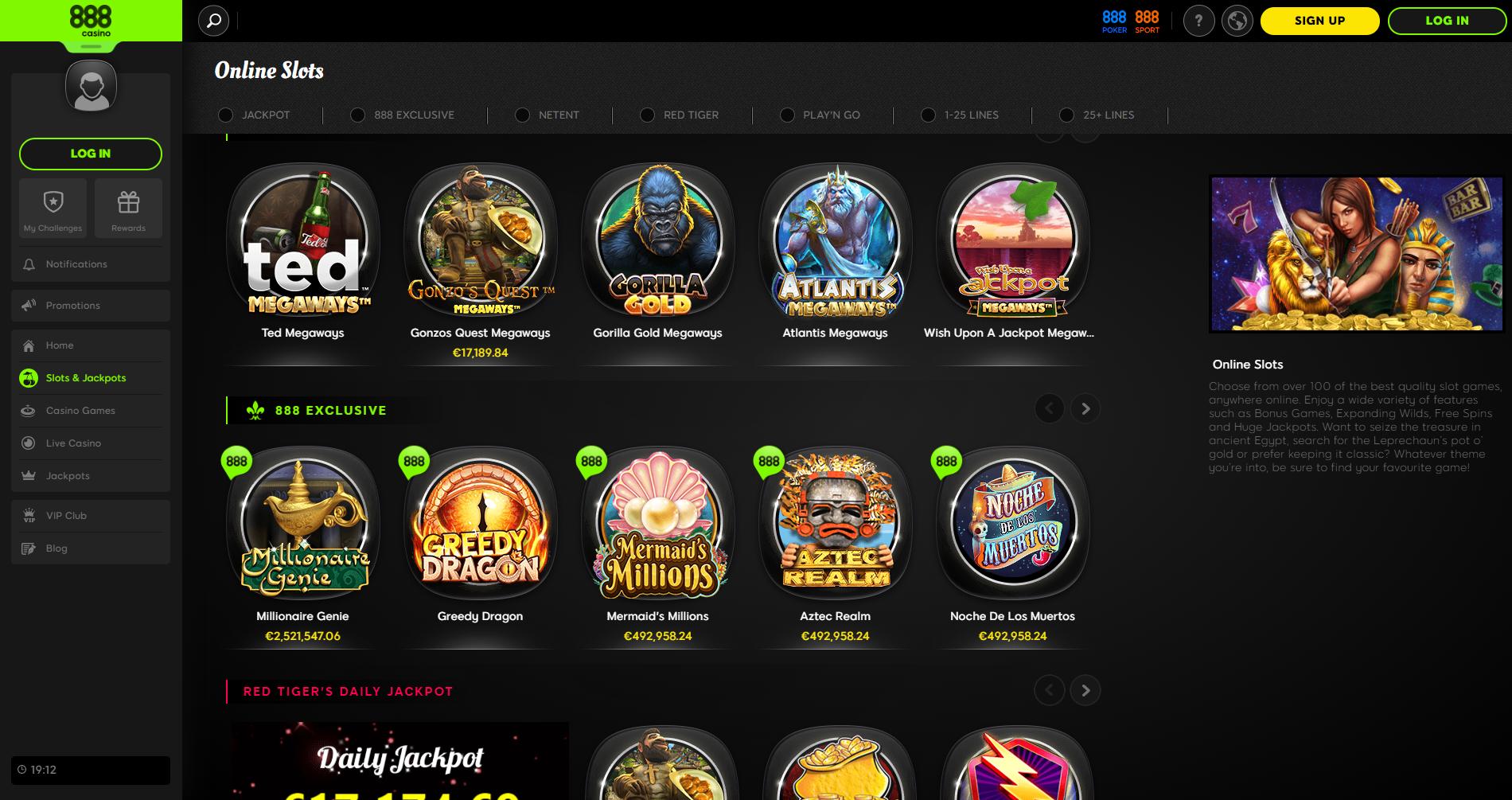 888 casino online slots lošimo automatai ted gonzo quest gorilla gold atlantis megaways millionaire genie