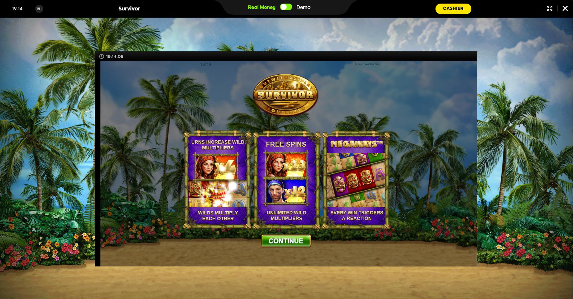 888 casino slots lošimo automatai survivor megaways big time gaming tropinė sala palmė paplūdimys smėlis