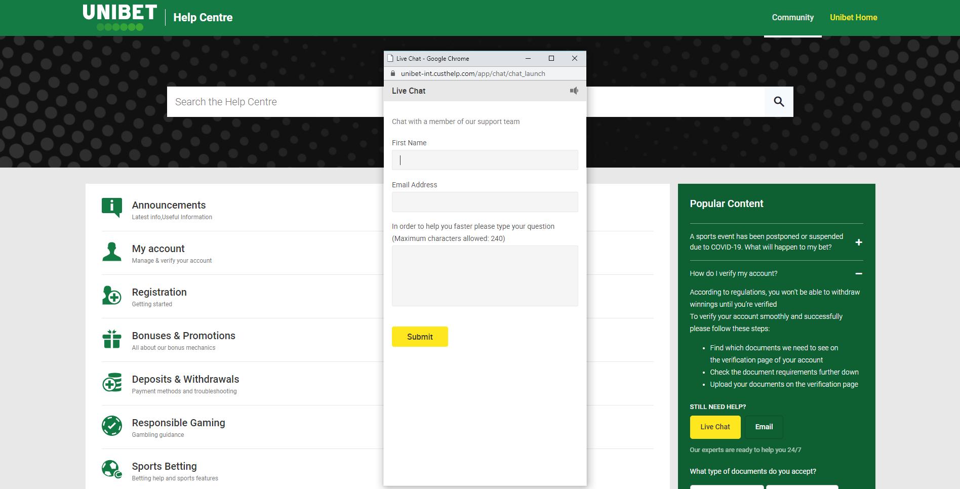 unibet live chat klientų aptarnavimo centras community