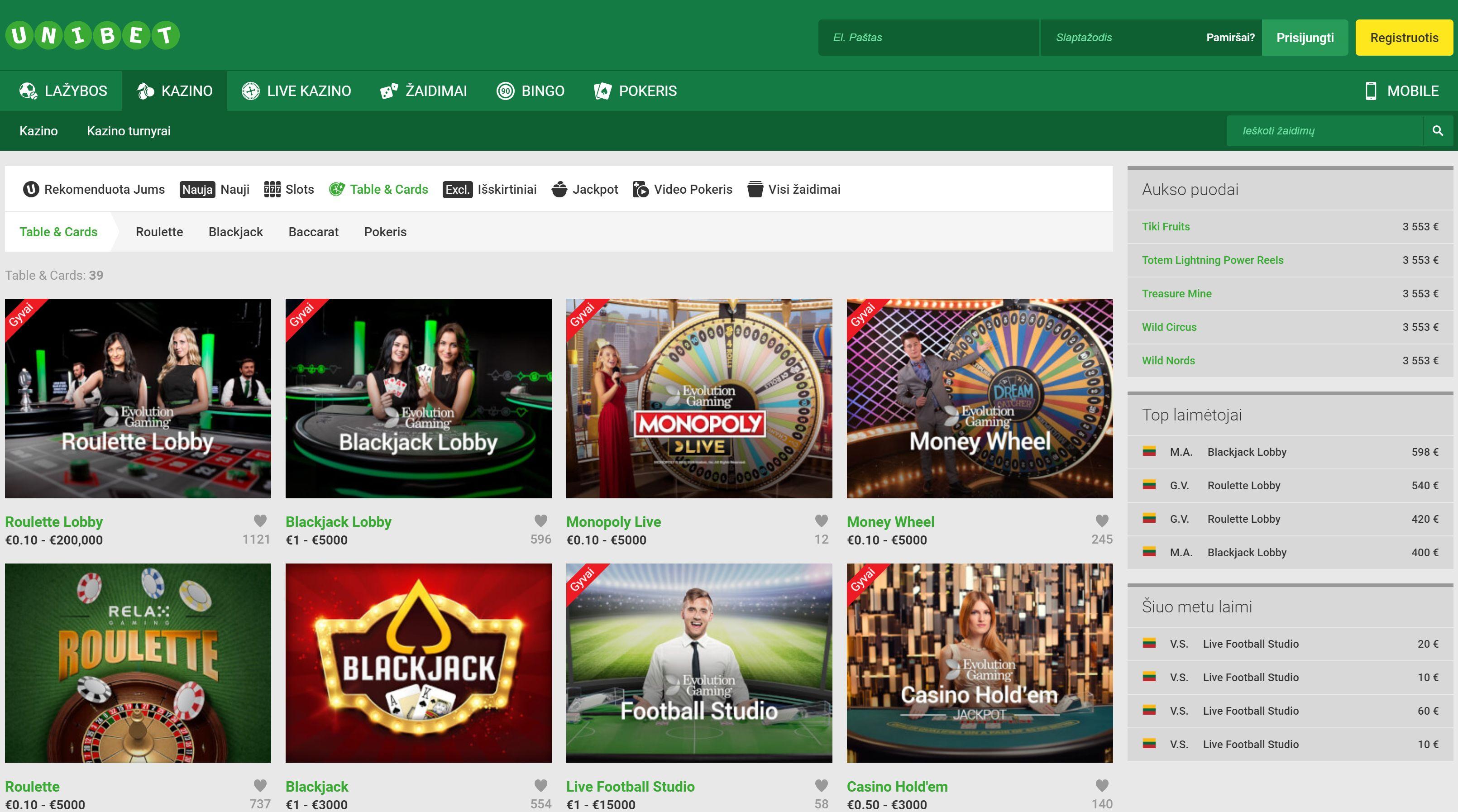 lt unibet lietuva casino rulete blackjack baccarat slots