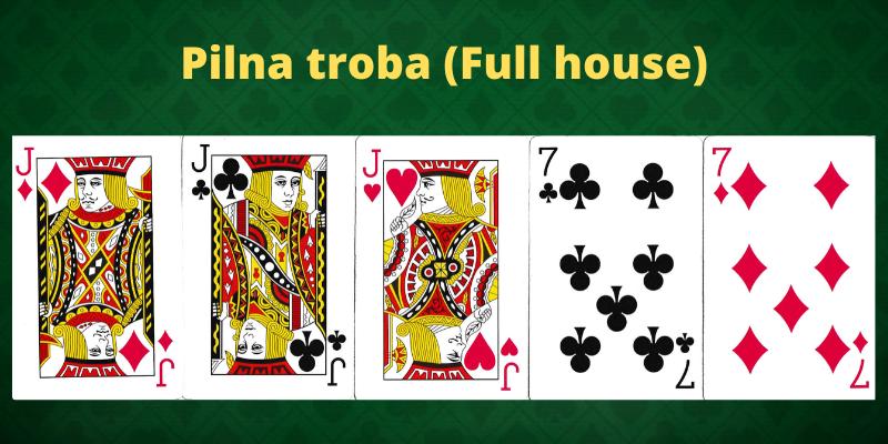 Pokerio kombinacijos lietuviškai - Pilna troba