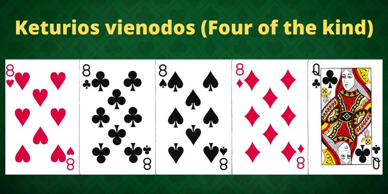 Pokerio taisyklės ir deriniai - Keturios vienodos