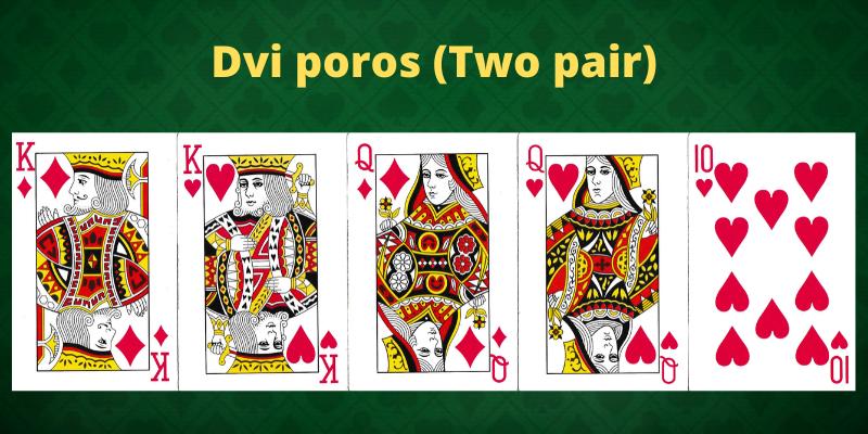Žaidimo pokeris kombinacijos - Dvi poros
