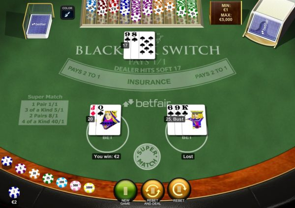 BlackJack Switch taisyklės