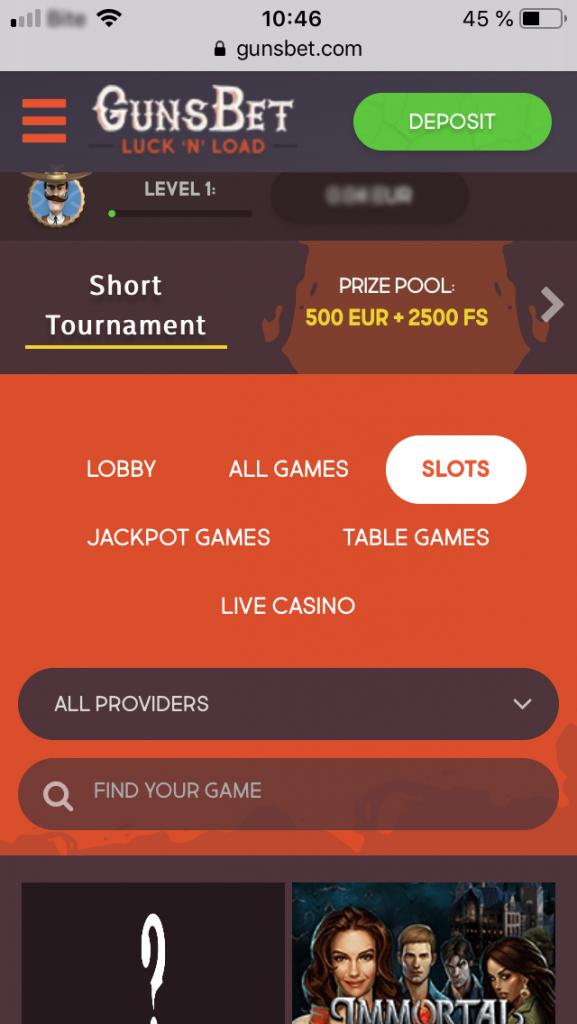 gunsbet casino mobile