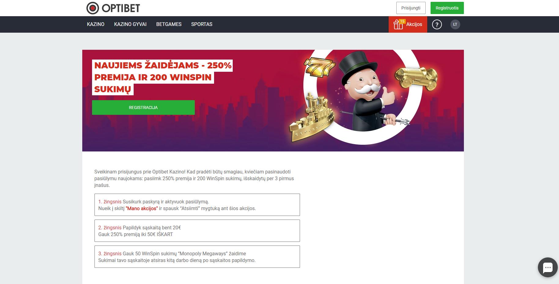 optibet akcijos kodas - 250% premija iki 50€ 200 nemokamų sukimų Win Spins 15% pinigų grąžinimas pragmatic play iššūkis - optibet free spins