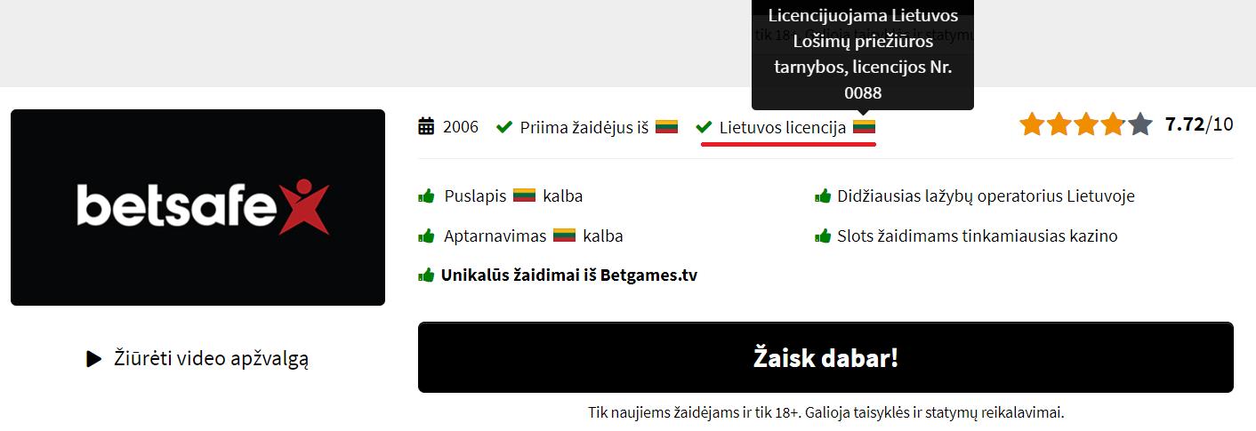 Kazino internete, turintys lietuvišką licenciją