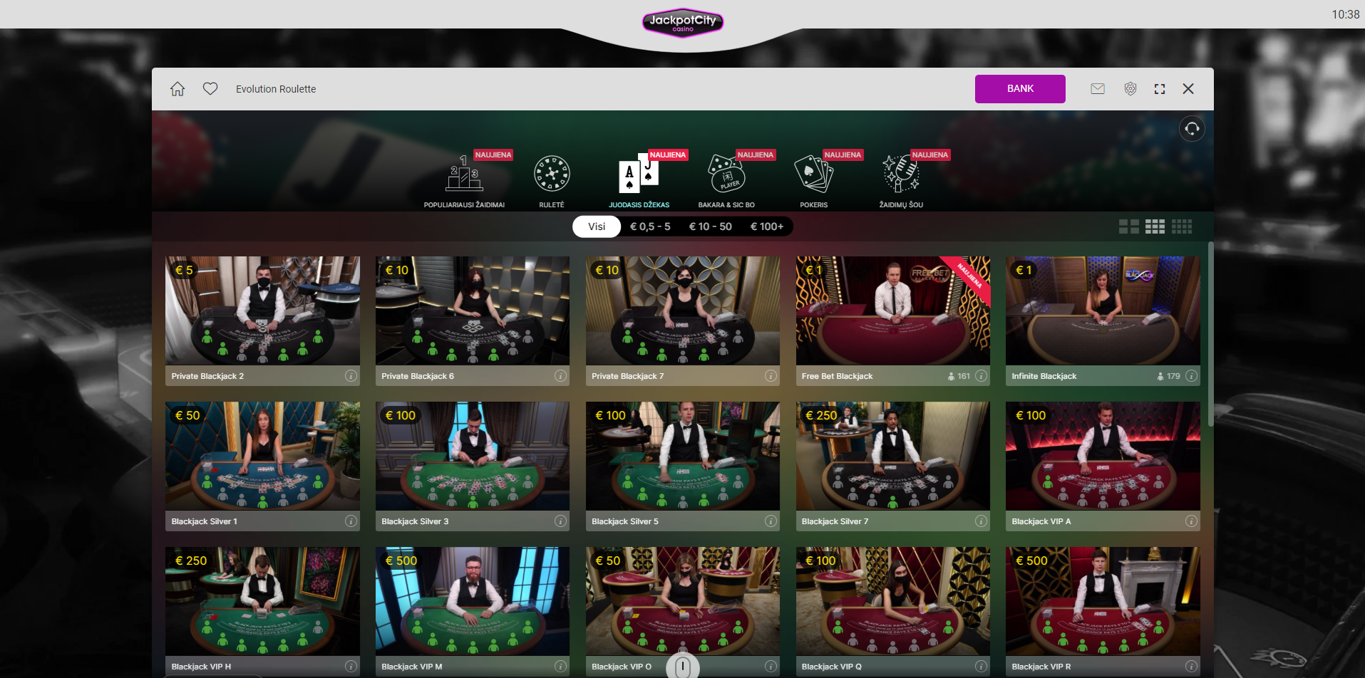 jackpot city live casino - blackjack roulette baccarat game show monopoly live lightning roulette