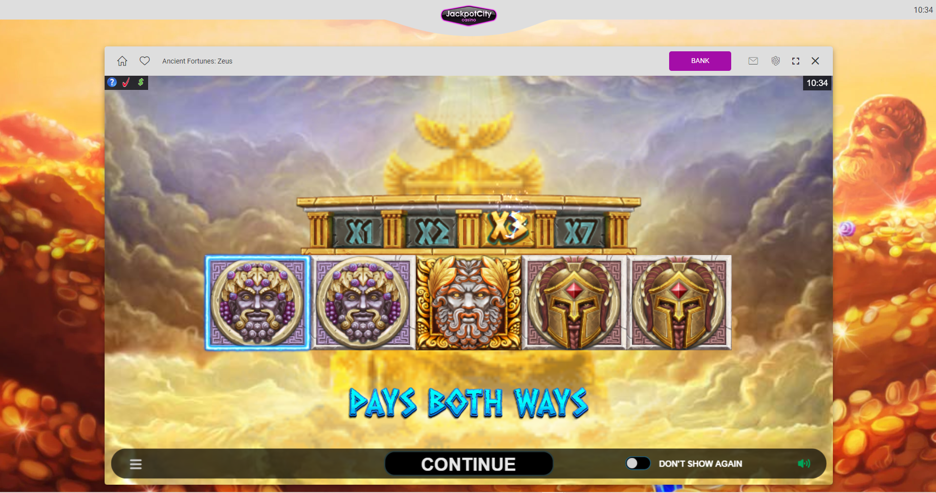 jackpot city slots - ancients fortunes zeus pays both ways gods