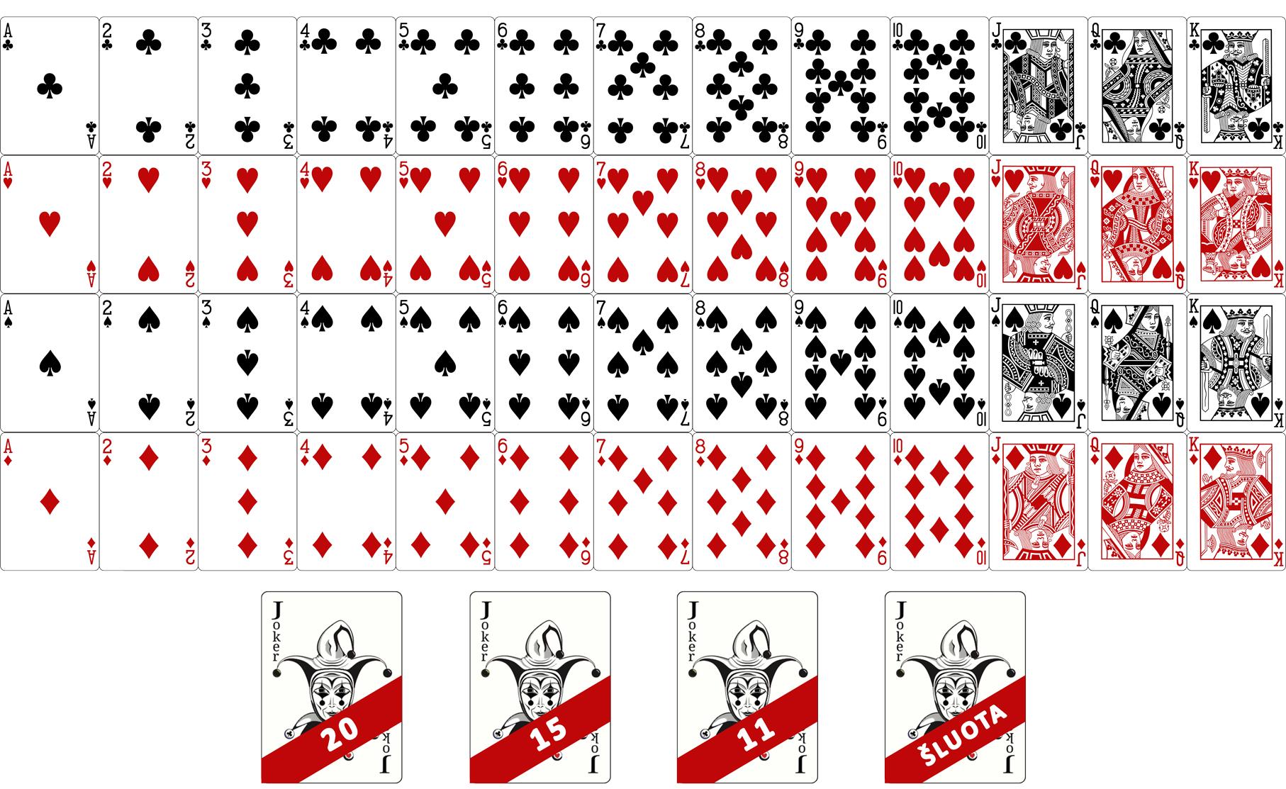 56-Pilna kortų kaladė+Džokeriai&Šluota