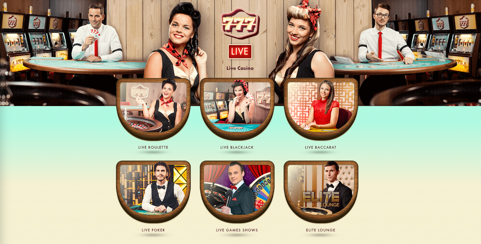 777 live casino - live roulette blackjack baccarat poker game shows elite lounge - retro ladies - live kazino