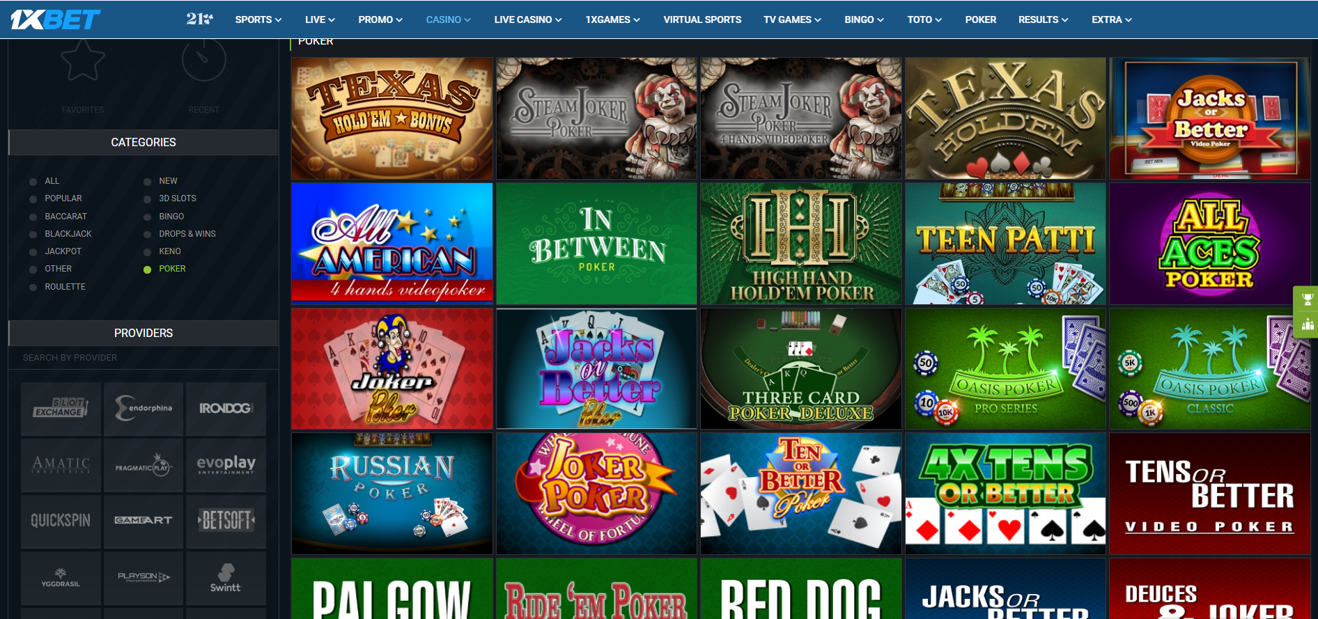 1xbet poker texas holdem jacks or better russian poker pai gow red dog