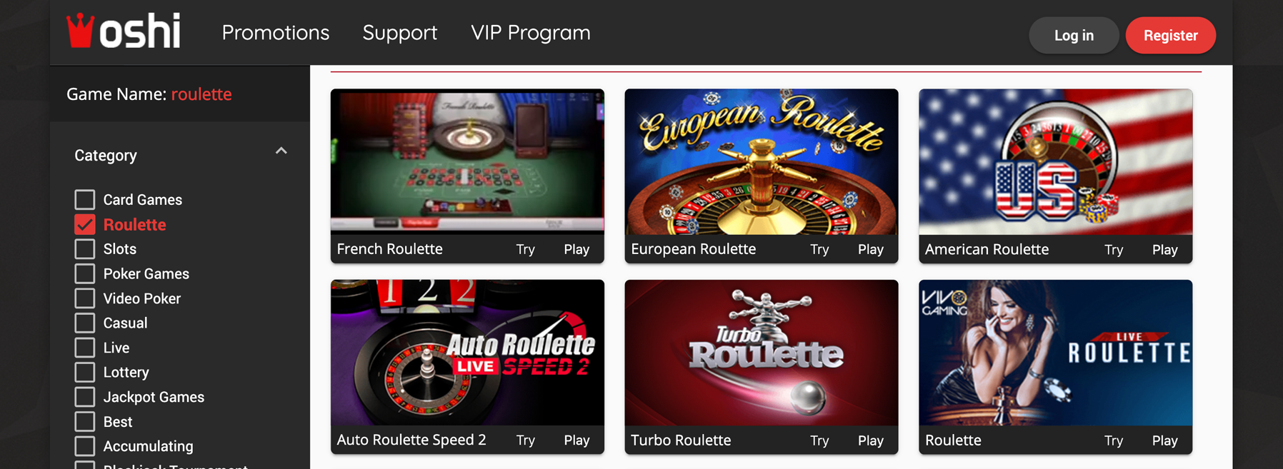Oshi-kazino meniu ruletė internete