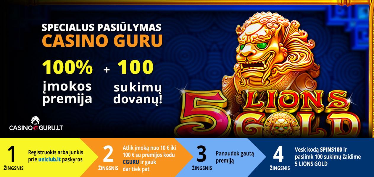 uniclub casino premija 100 nemokamų sukimų 5 lions cguru nuolaidos kodas casinoguru