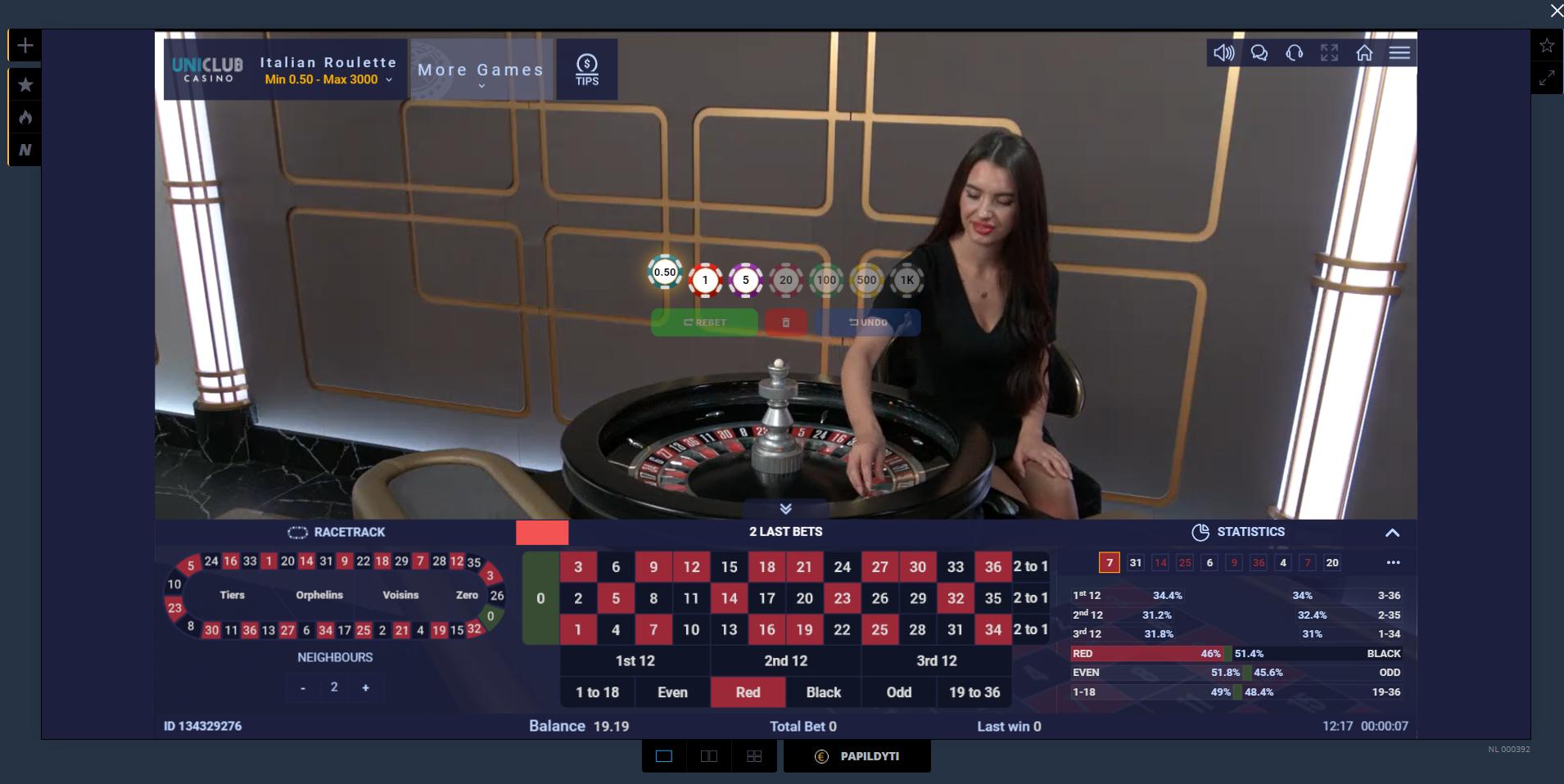 uniclub casino ezugi live kazino žaidimai ruletė gyvai dalintoja krupjė