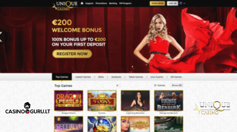 unique casino apžvalga - a lady with red dress casinoguru starburst