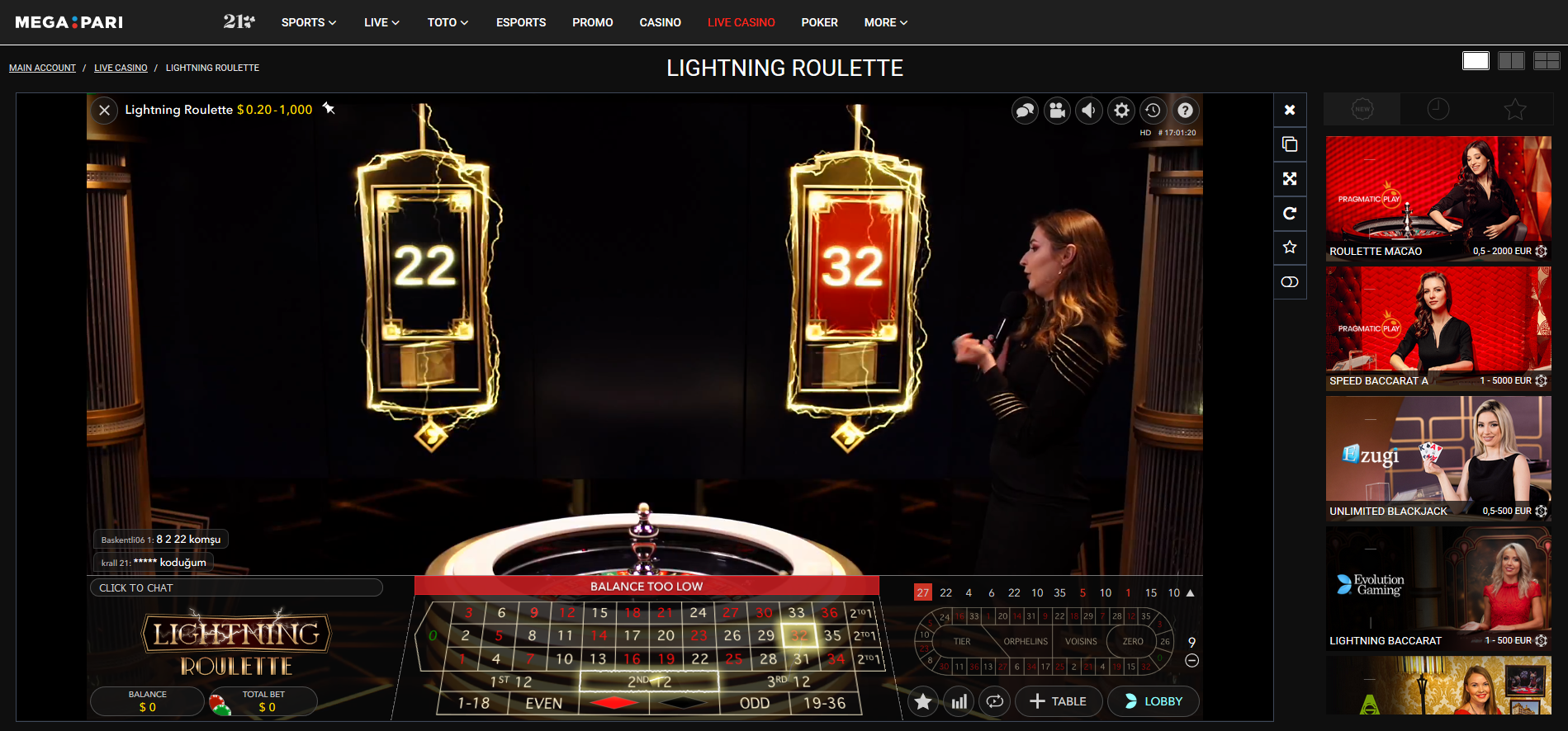 megapari lightning roulette - european roulette - game show - 22 - 32 - lucky numbers - wheel