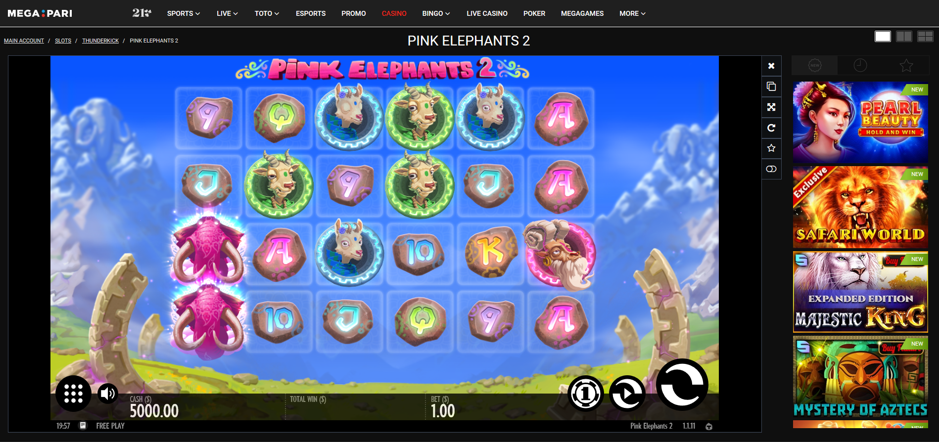 megapari thunderkick pink elephants 2 slot - demo play