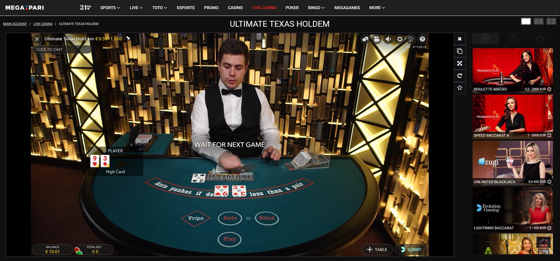 megapari ultimate texas holdem poker - live dealer game - evolution gaming