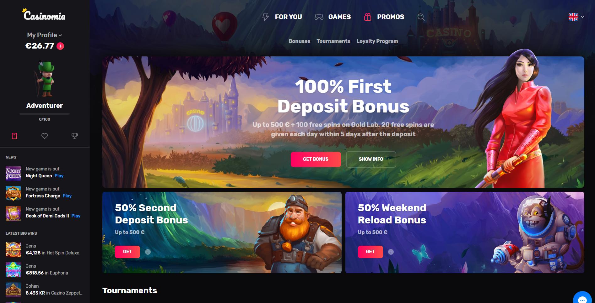 casinomia casino bonus free spins - 100% first deposit bonus 500€ sakura fortune weekend reload bonus - casinomia no deposit bonus code promo code
