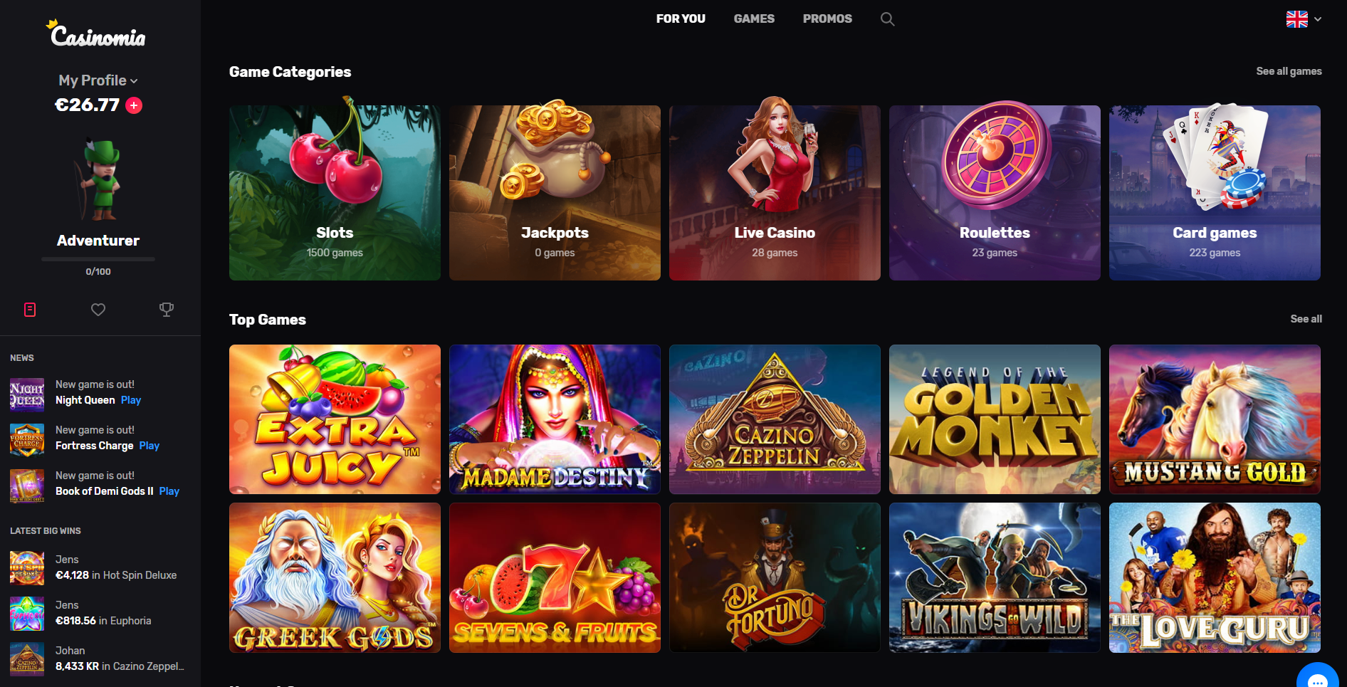 casinomia žaidimai - slots jackpots live casino roulettes card games extra juicy madame destiny golden monkey mustang gold vikings go wild greek gods