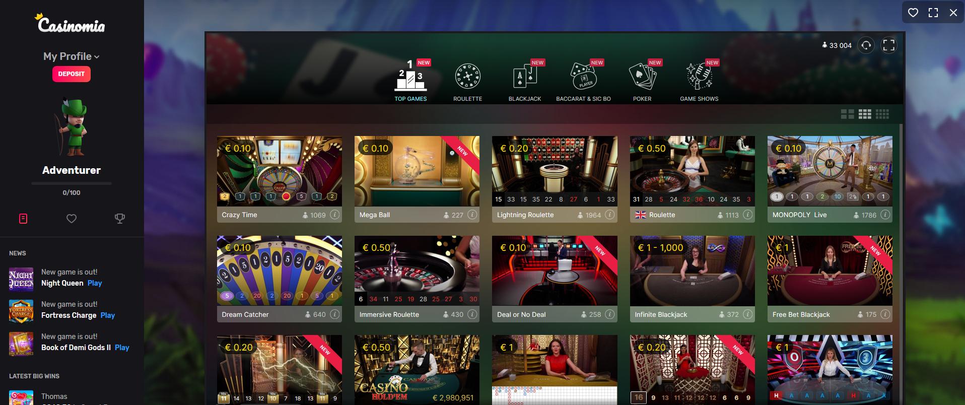 casinomia live casino - evolution gaming mega ball lightning roulette infinite blackjack dream catcher monopoly live