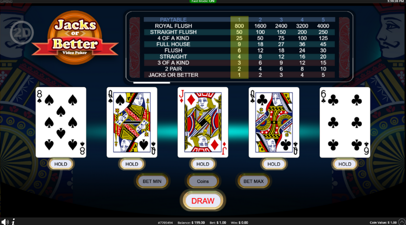 online video poker for real money - jacks or better