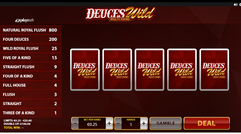 deuces wild video poker playtech deal gamble full house