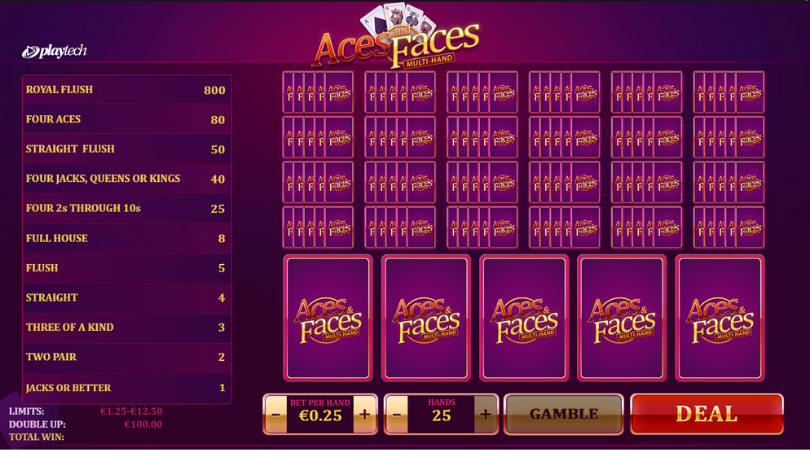 play video poker online multi hand aces and faces playtech
