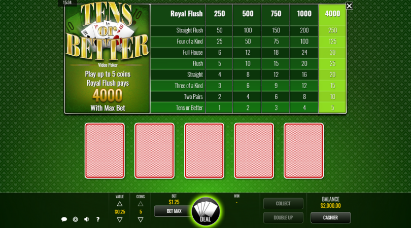 video poker games online tens or better