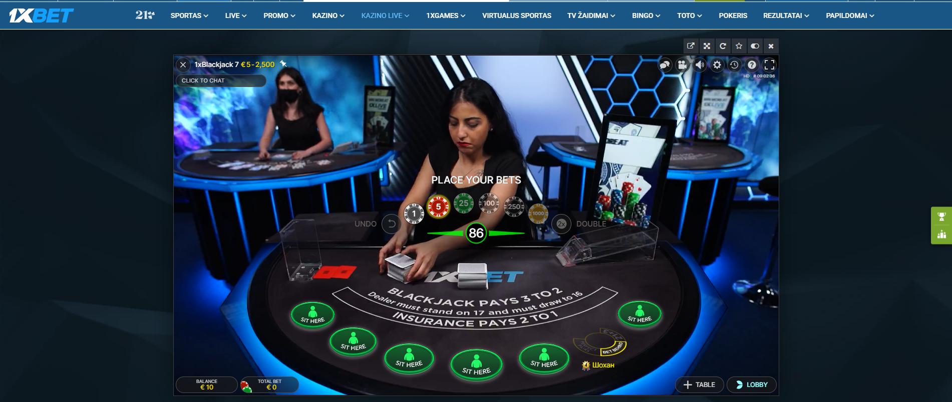 1xcasino 1xbet live kazino dalintojas krupjė blackjack stalas