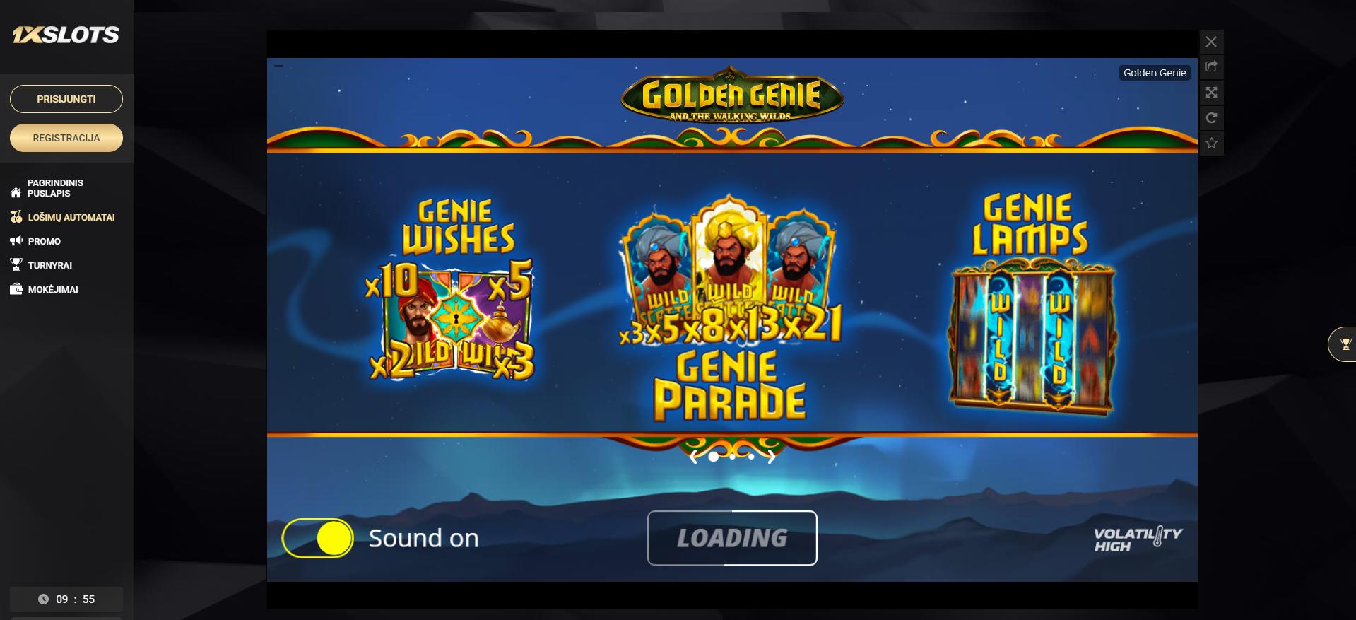 1xslots nolimit city golden genie lošimo automatas slots genie parade