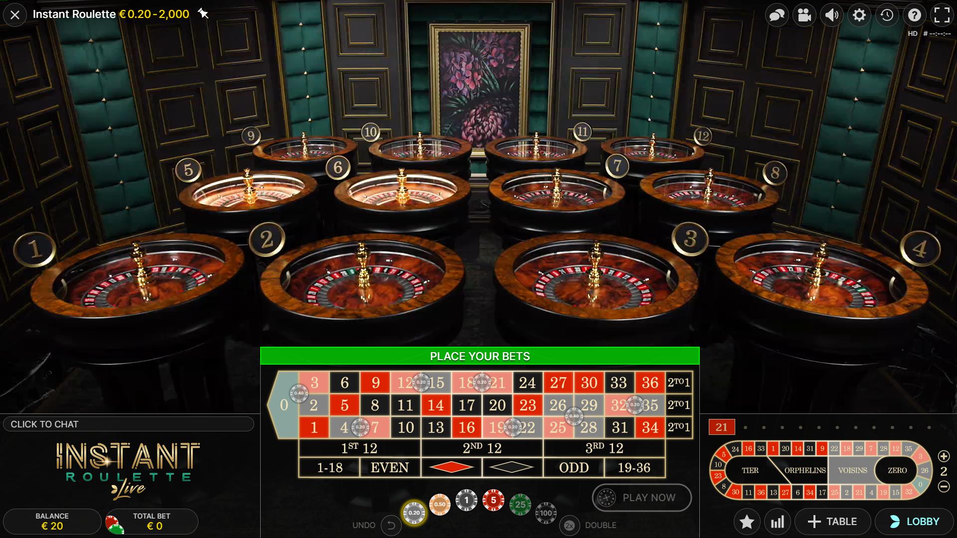 instant roulette papildomos savybės tiers voisins even odd