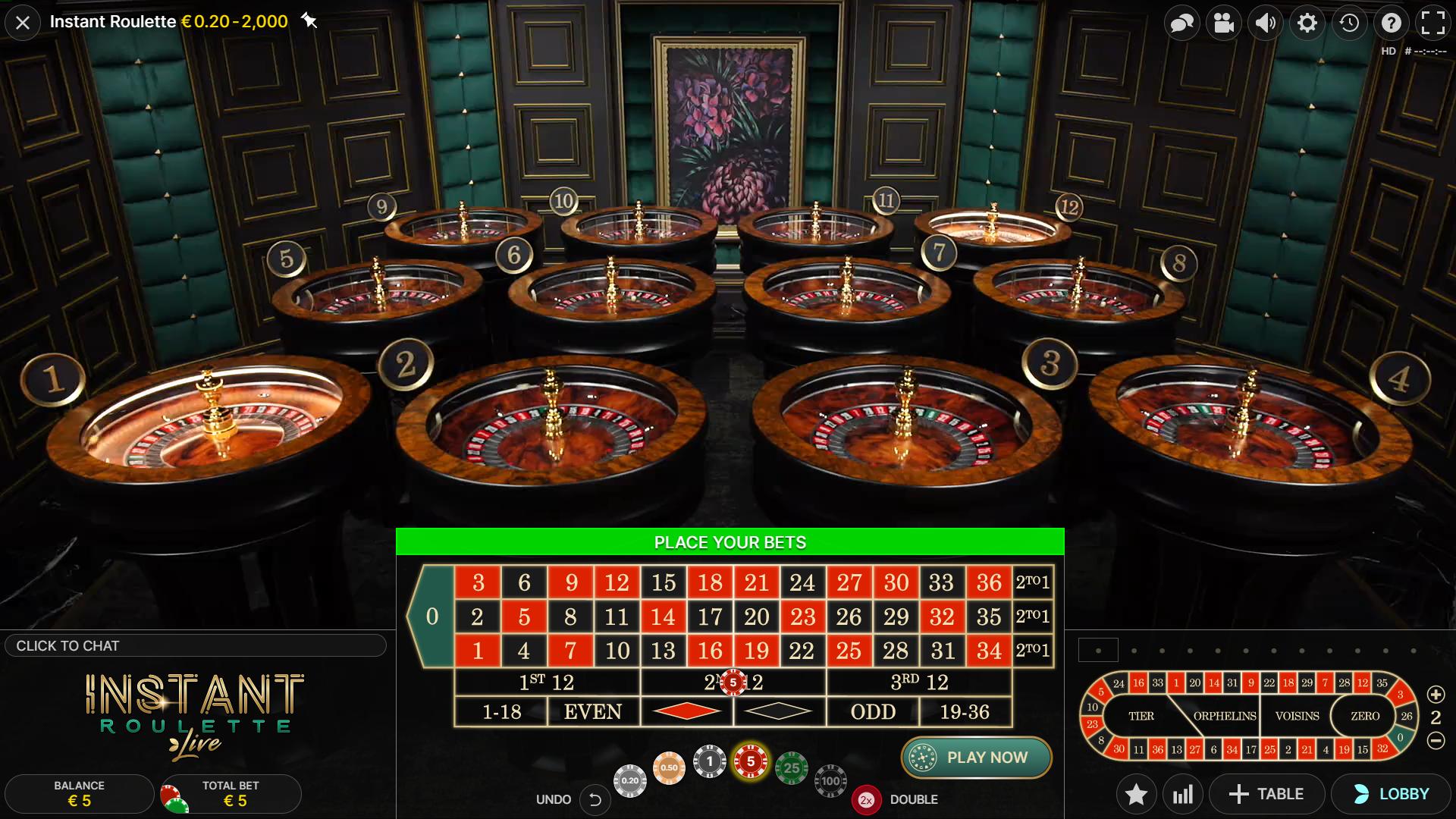instant roulette 12 individualių rulečių žaidimo ratas
