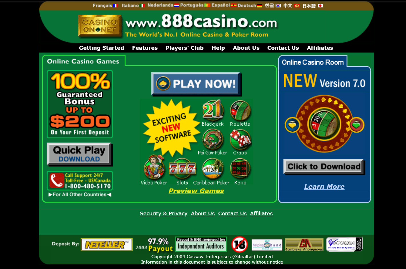 888 casino 2004 metai year kazino evoliucija blackjack roulette slots video poker