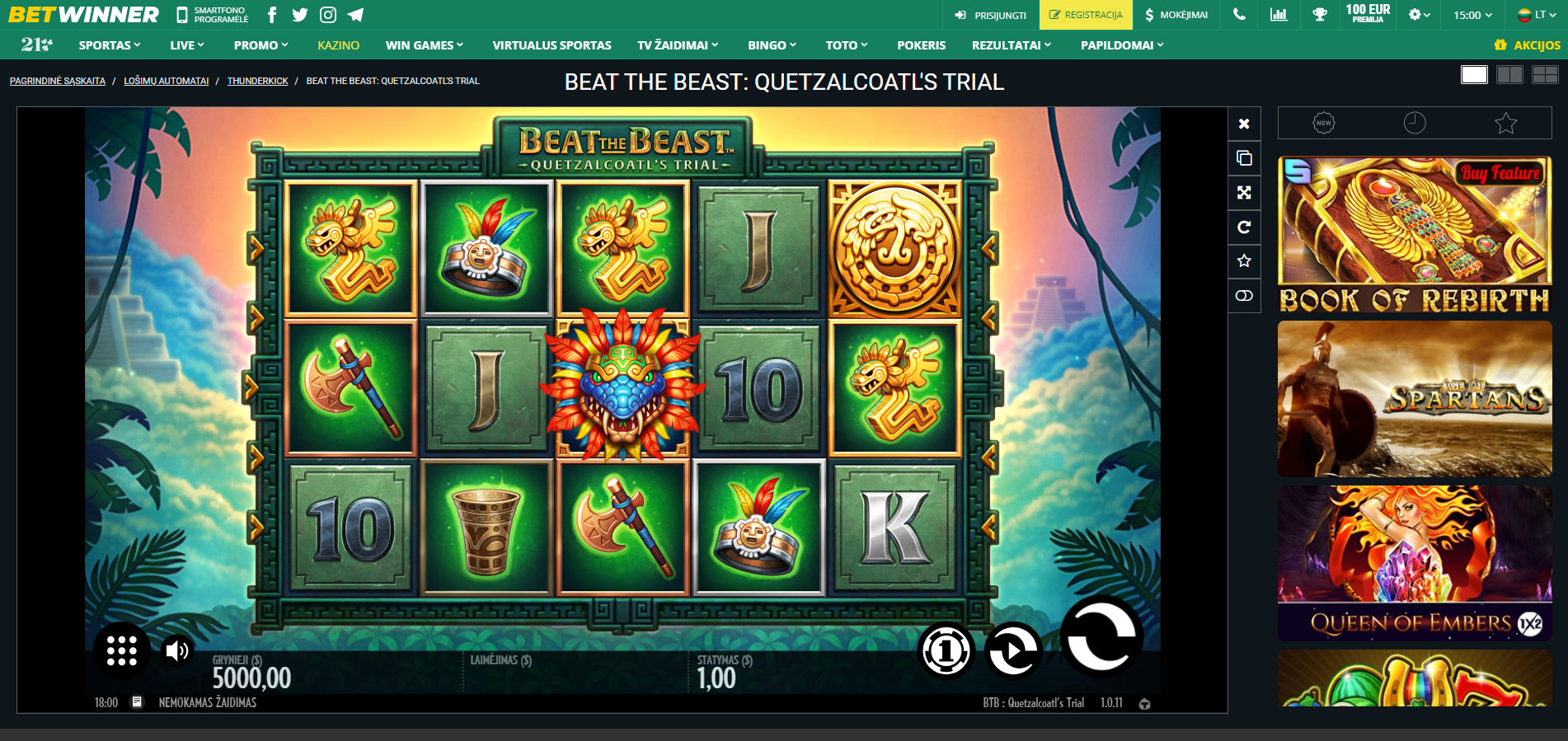 beat the beast thunderkick betwinner lošimo automatas